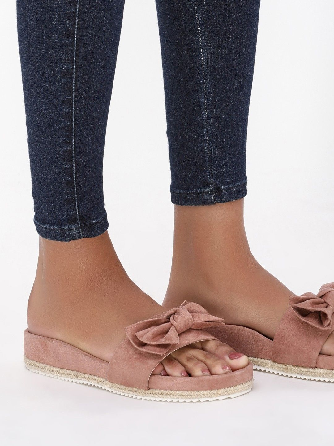 3fb36e29db7b5f Buy Bow Detail Espadrille Sandals For Women - Women s Nude Flat Sandals  Online in India