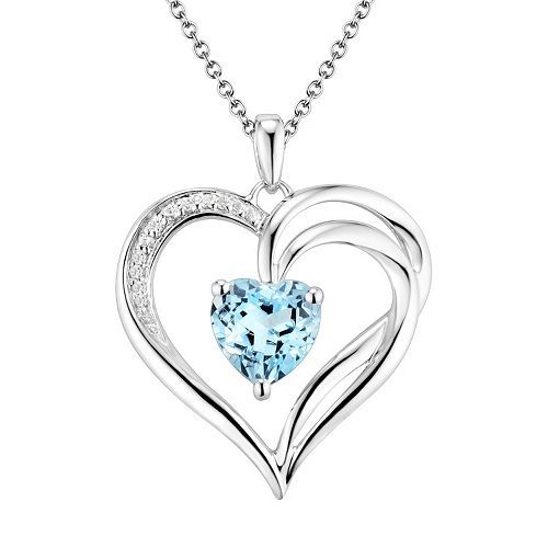 Two hearts forever one sterling silver light blue topaz diamond two hearts forever one sterling silver light blue topaz diamond accent heart pendant aloadofball Image collections