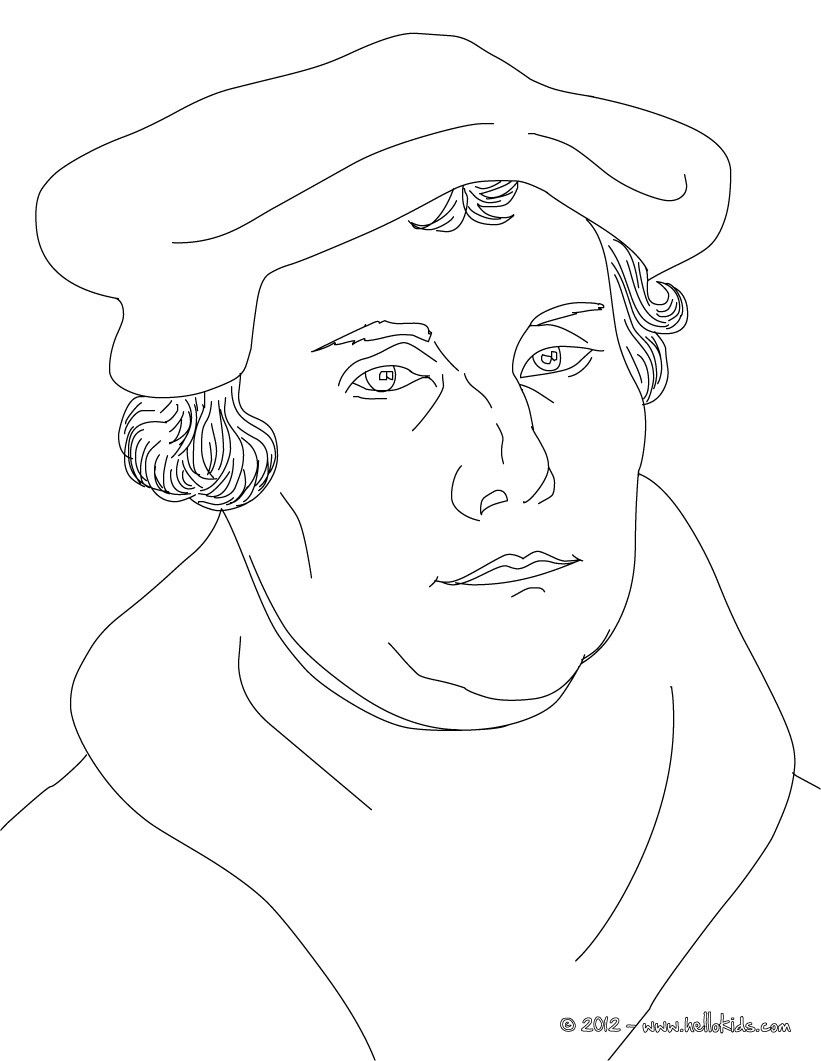 MARTIN LUTHER German Protestant reformer coloring page – Protestant Reformation Worksheet