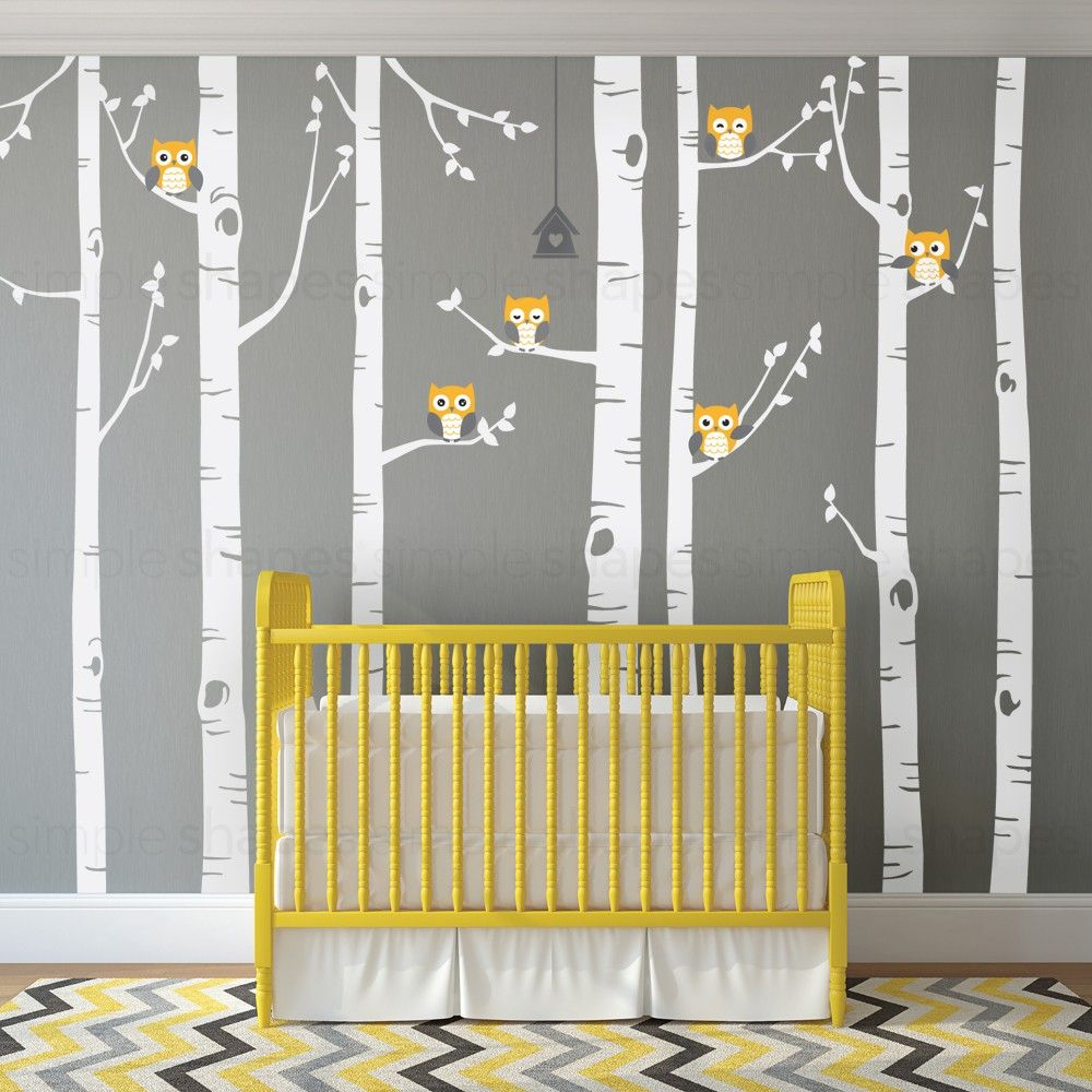 Birch Tree Wall Decal with Owls | Baby room ideas | Pinterest ...