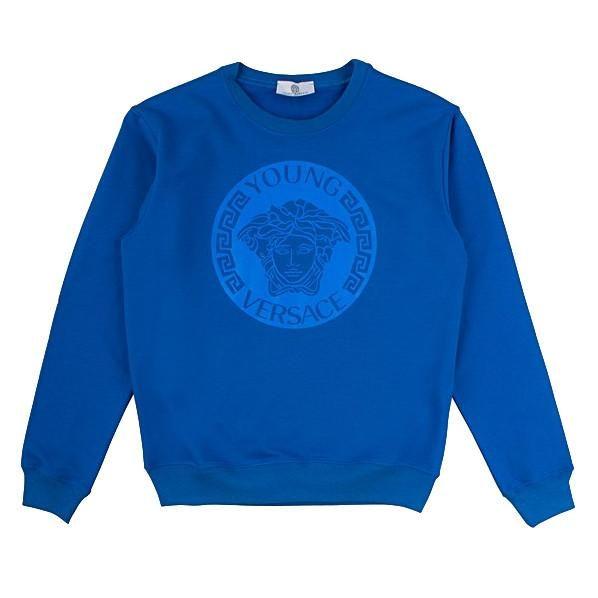 Young Versace Boys Marine Blue Medusa Logo Sweatshirt