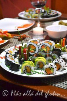 Más allá del gluten...: SUSHI CON VEGETALES (Receta GFCFSF, Vegana)
