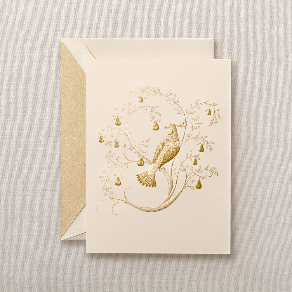 Hand Engraved Partridge In A Pear Tree Greeting Cards