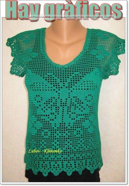 Delicadezas en crochet Gabriela: Blusa filet diseño mariposa ...