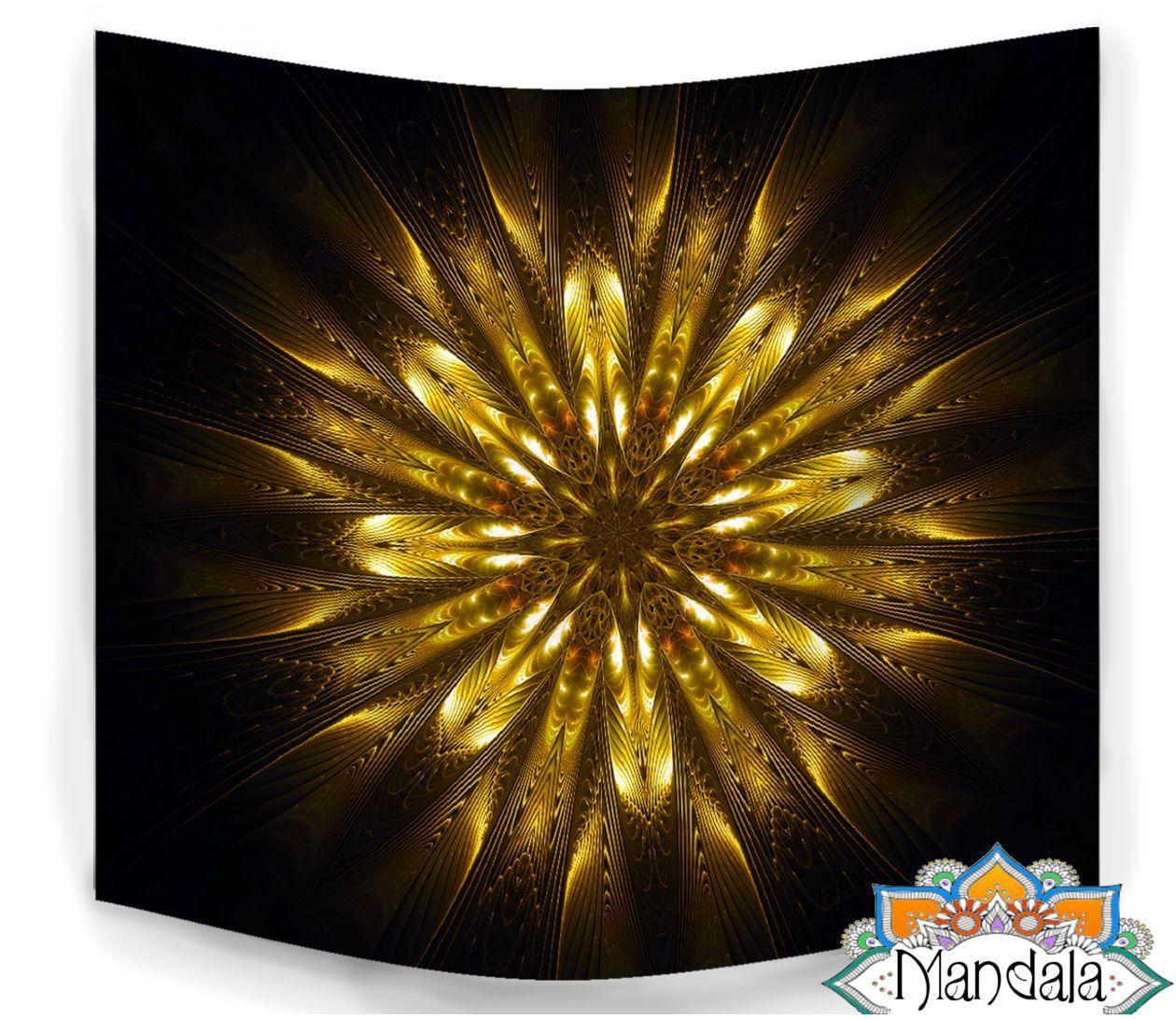 Spiritual Golden Flower Mandala Tapestry | Mandala tapestry, Flower ...