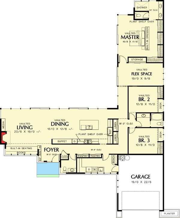 House plan l shaped ranch Home and house style Pinterest