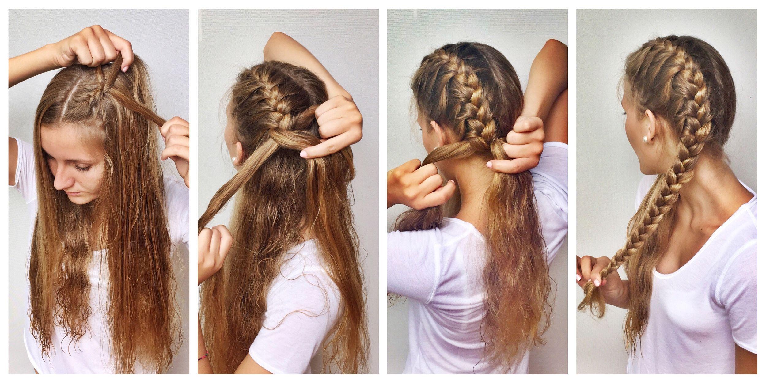 Resultado de imagen para como hacer 2 trenzas francesas pasos belleza pinterest trenza - Peinados para hacerse una misma ...
