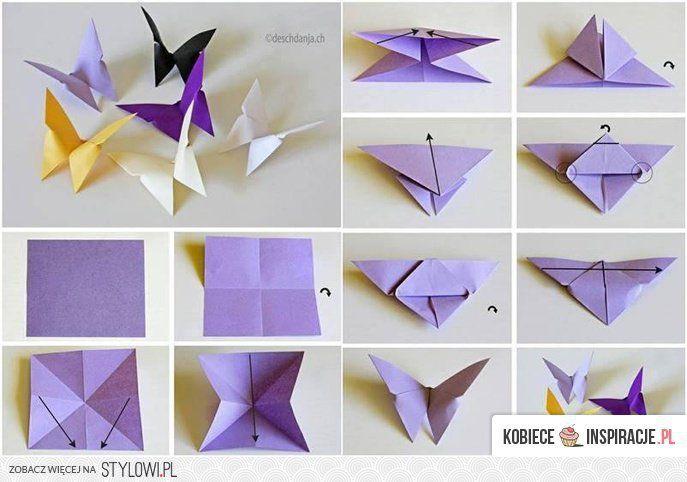 Motyle Z Papieru Origami Kobieceinspi Origami Butterfly Easy Origami Butterfly Instructions Origami Butterfly Tutorial
