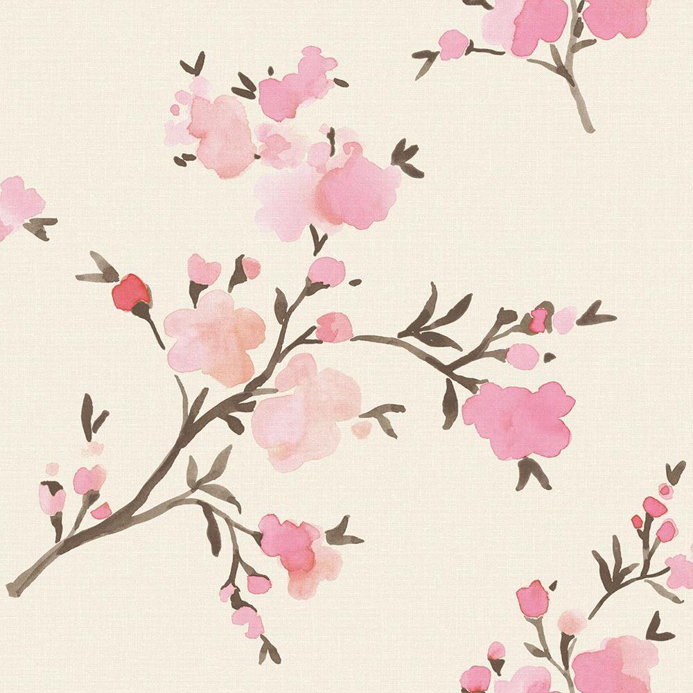 Brewster Wallcovering 56 4 Sq Ft Glinda Pink Floral Strippable Wallpaper Pink Floral Wallpaper Floral Wallpaper Iphone Floral Wallpaper