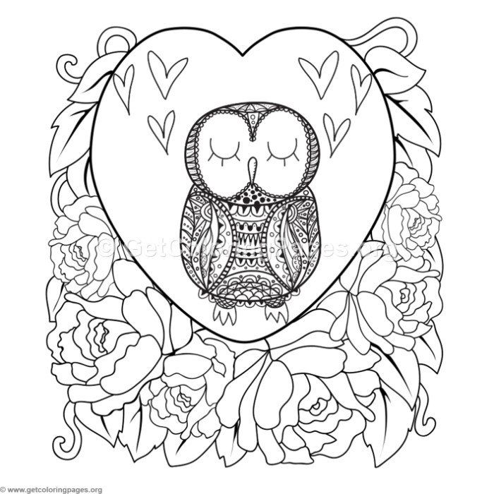 Free To Download Zentangle Owl In Love Coloring Pages Coloringbook Coloringpages