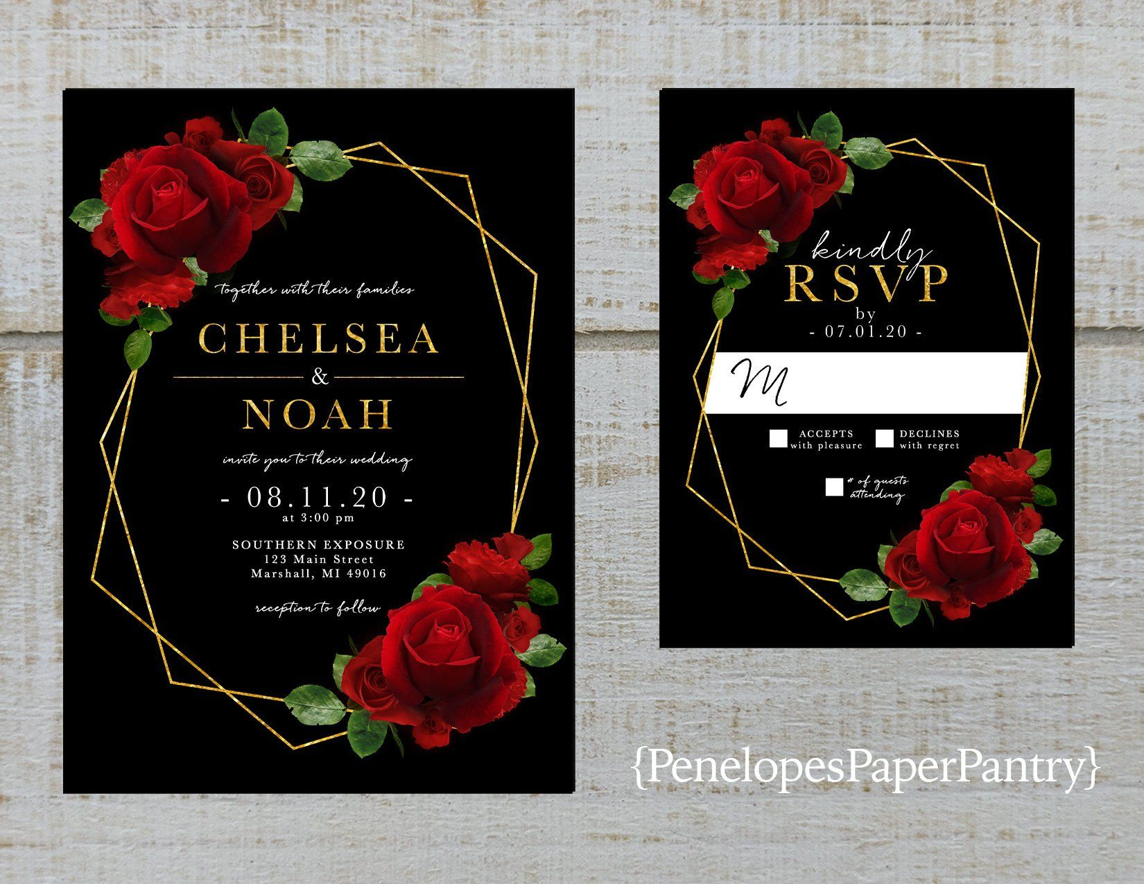 Elegant Red Rose Geometric Frame Wedding Invitation Black Red Roses Gold Print Shimmery P Red Wedding Invitations Red Rose Invitation Black Wedding Invitations