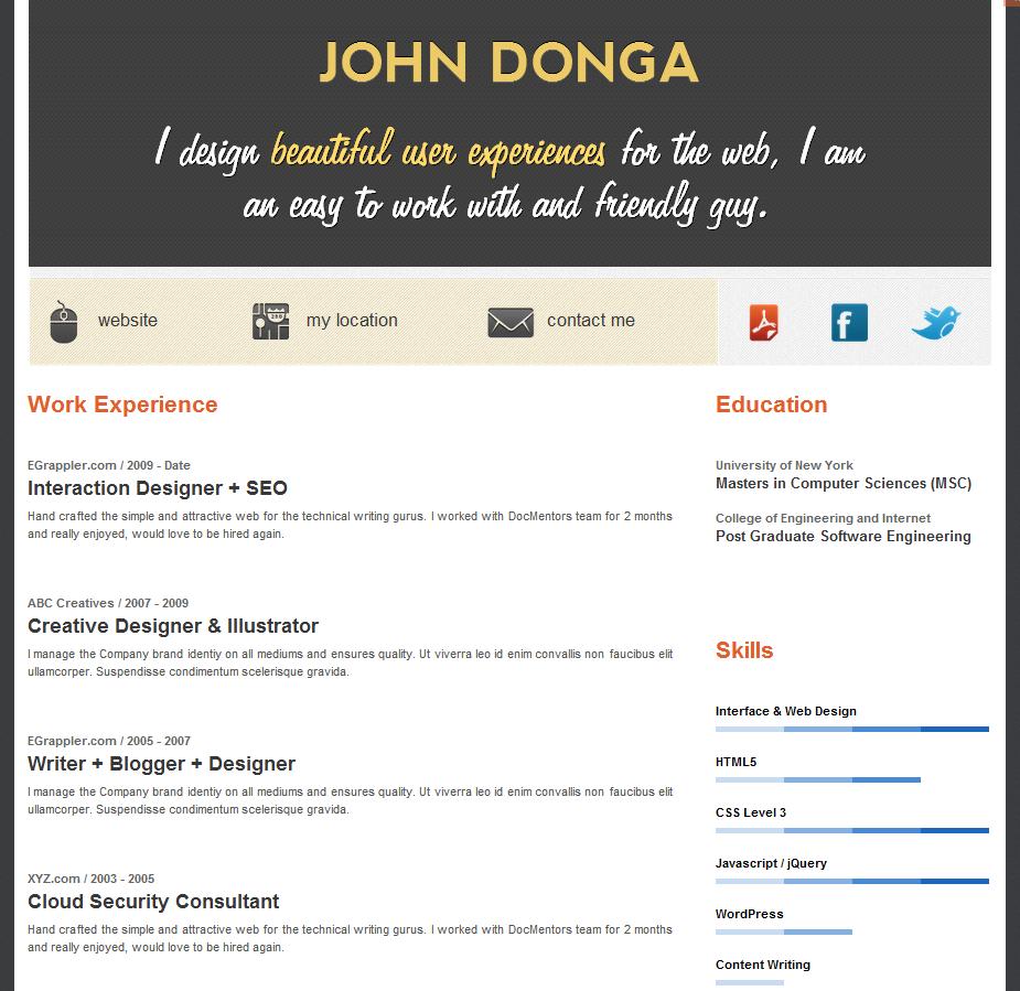 Free Wordpress Resume Theme Create An Online Resume In Minutes