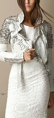 Women Belted White Leather Jacket With silver studded Style on collar shoulders #Handmade #StuddedStyle