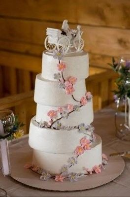 Wedding Cake With Horse And Carriage Topper