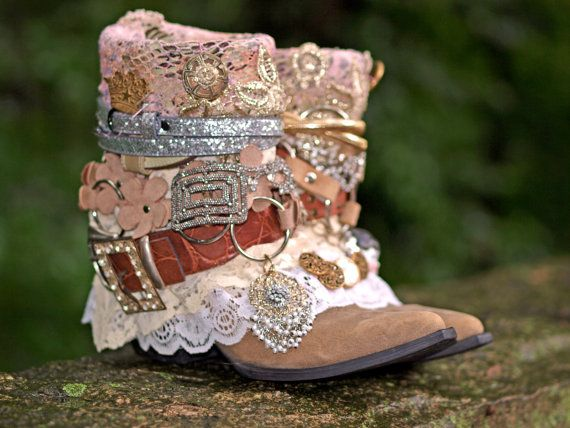 custom bridal upcycled vintage cowboy boots boho boots wedding boots gypsy boots festival boots leather ankle boots
