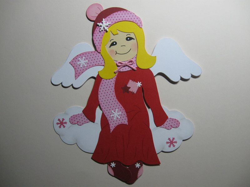 Fensterschmuck fensterbild engel auf wolke rot rosa weihnachten ein designerst ck von - Fensterschmuck weihnachten basteln ...