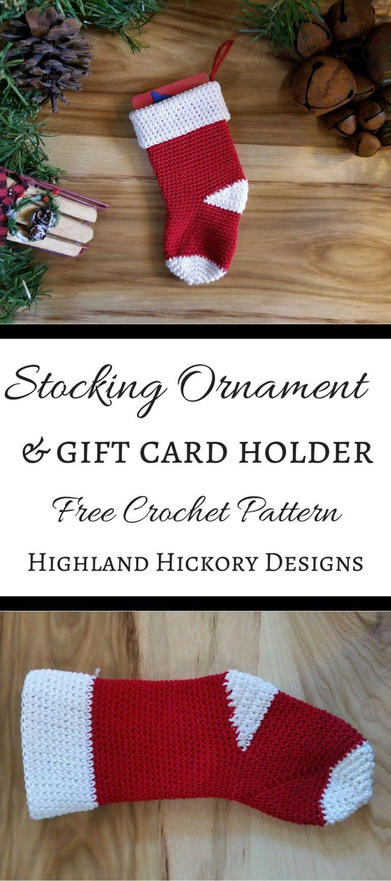 Stocking Ornament/Gift Card Holder | free patterns | Pinterest ...