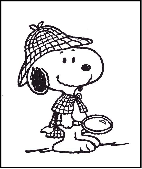 Snoopy The Private Detective coloring picture for kids