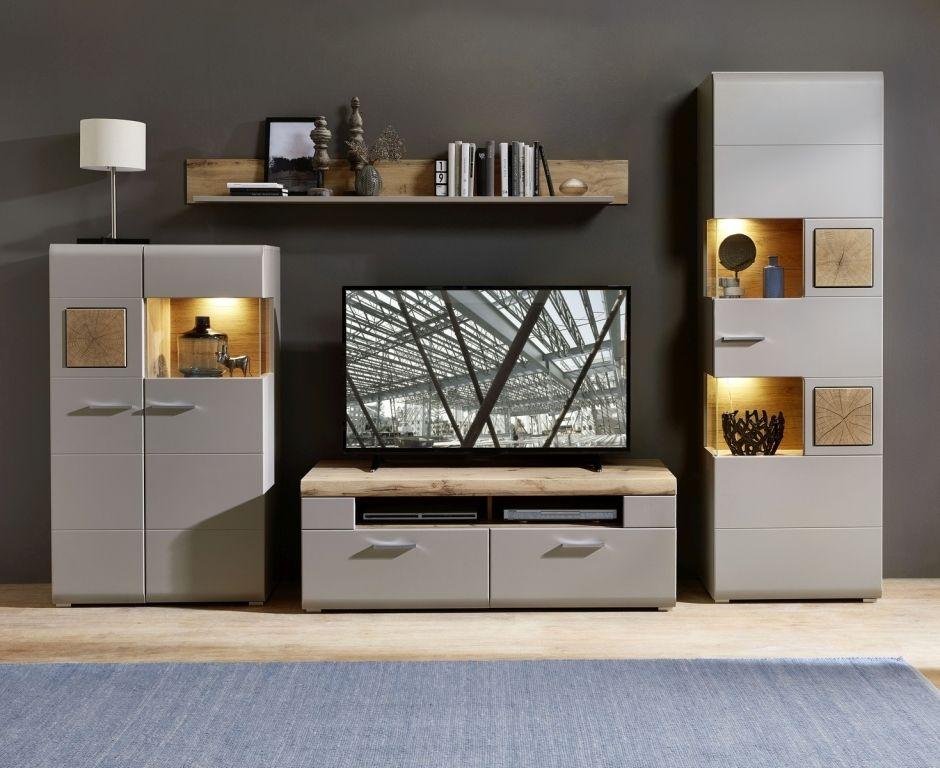 Wohnwand Fun Plus Ii Modern 330cm Breit Eiche Grau Wohnen Wohnwand Wohnung Wohnzimmer
