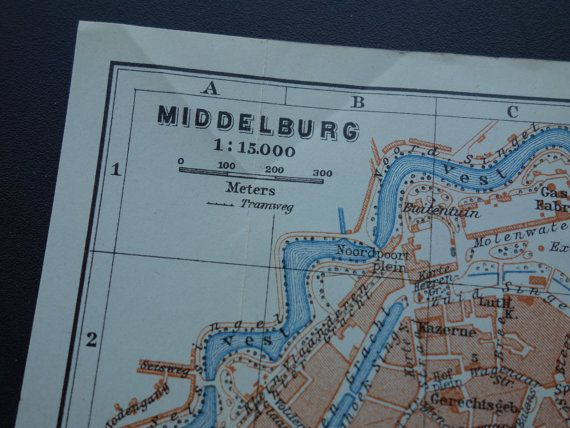 1904 antique map of Middelburg and Vlissingen Holland 100 year old