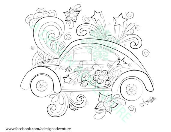 Peace And Love Bug Downloadable Coloring Page