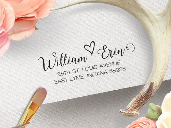 Address Stamp Couple Heart, Wedding Return Address Stamp, Elegant ...