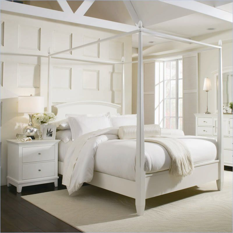 BedroomBedroom Inspiration Elegant Canopy Bed Curtains White Wooden Poster Beds Oak Woods Materials Cute Cover Bedding Nice Pillows Sweet Bedside Furniture ... & American Drew Sterling Pointe Off-White Wood Poster Bed 3 Piece ...