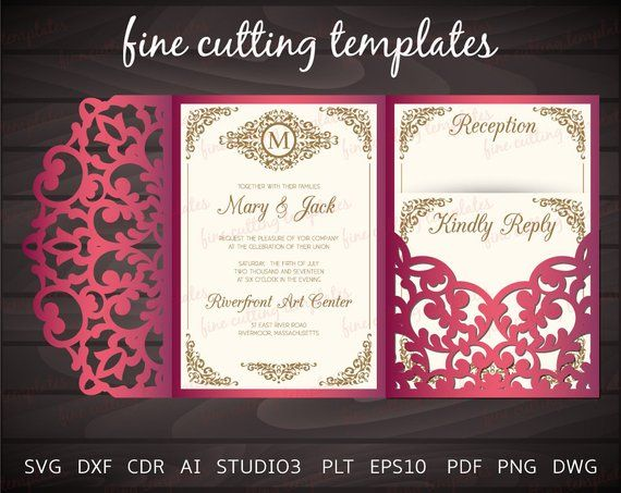 tri fold pocket envelope cutting template 5x7 elegant wedding