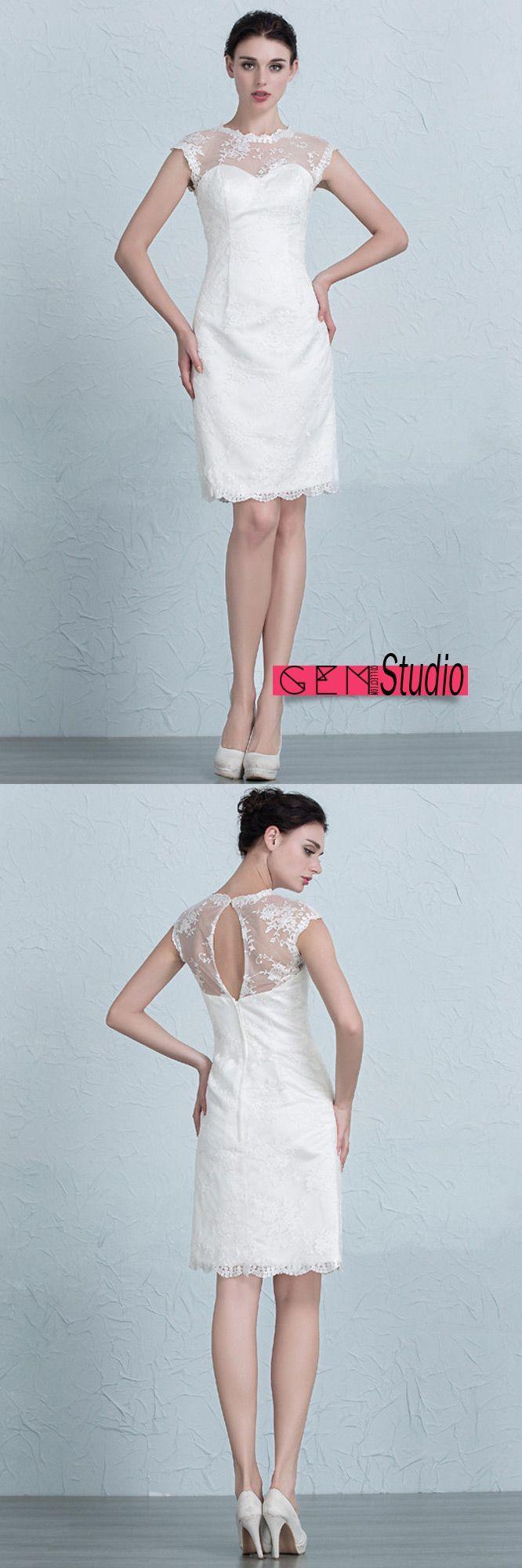Elegant short wedding dresses  Elegant Tight Short Wedding Dresses Reception Modest Lace Style