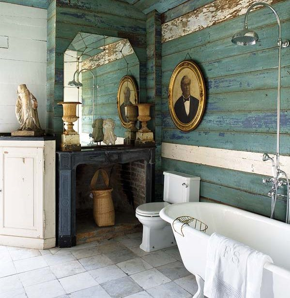 lambris bleu cérusé vieilli pour une ambiance rétro rustique ...