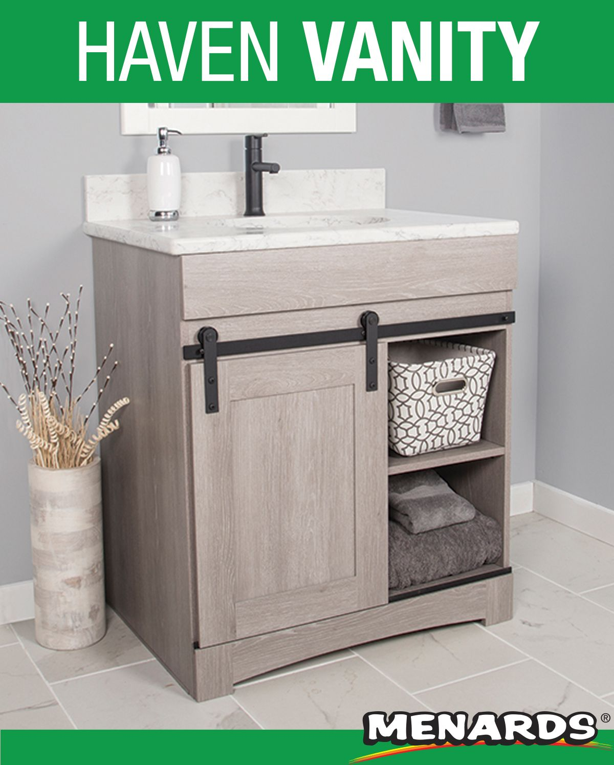 The Dakota Sliding Barn Door Vanity Creates Elegant And Functional Furnishings That Make Your Home Vanity Sliding Barn Door Bathroom Bathroom Vanity Cabinets [ 1494 x 1200 Pixel ]