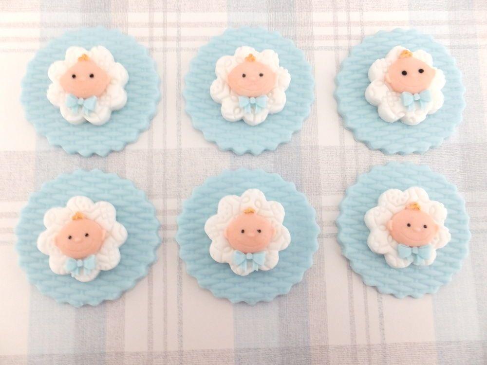Edible Fondant Cupcake Topper Baby Face Boy Baby Shower