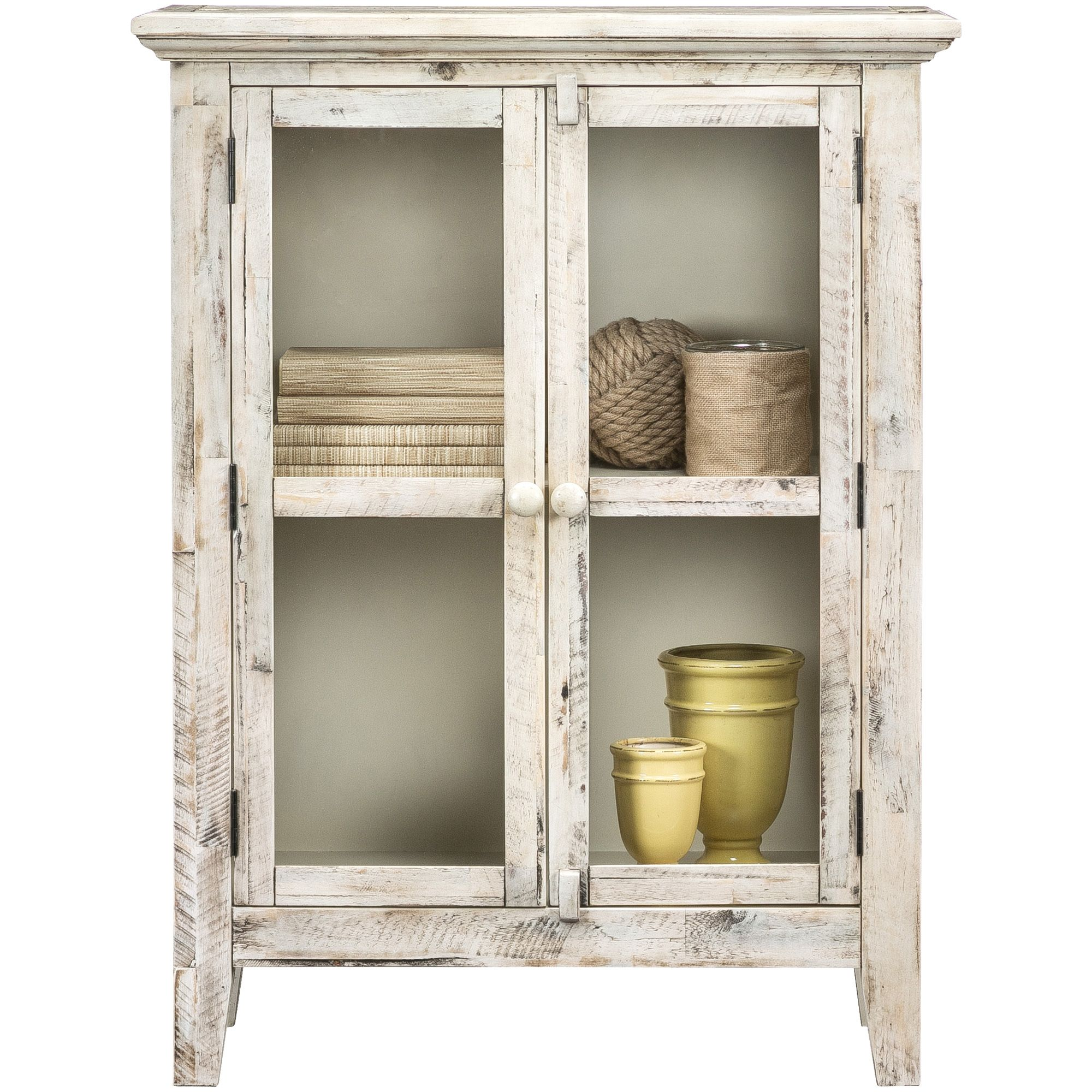 Rustic Shores Antique White 2 Door Glass