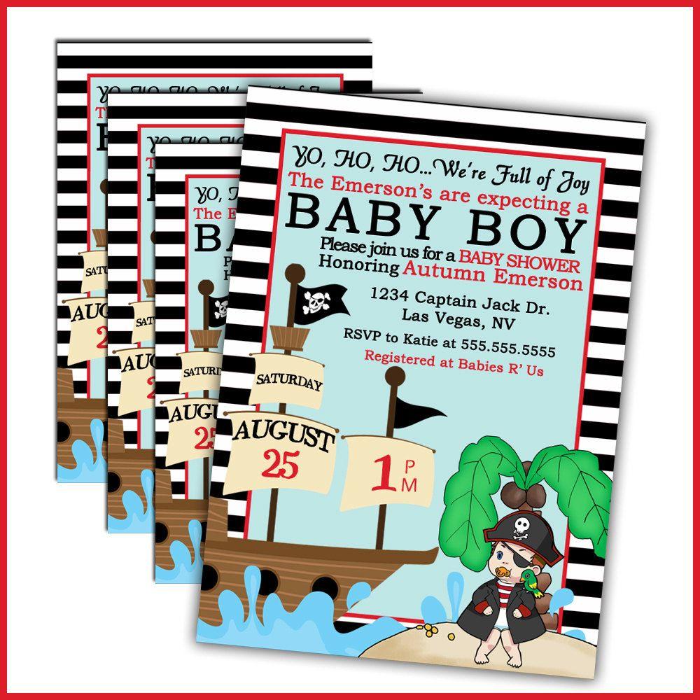 Pirate Baby Shower Invitations. $18.00, via Etsy. | Baby Shower ...