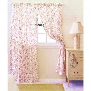 Rachel Ashwell Rosalie CURTAIN PANEL Pink Roses Simply Shabby Chic Collection