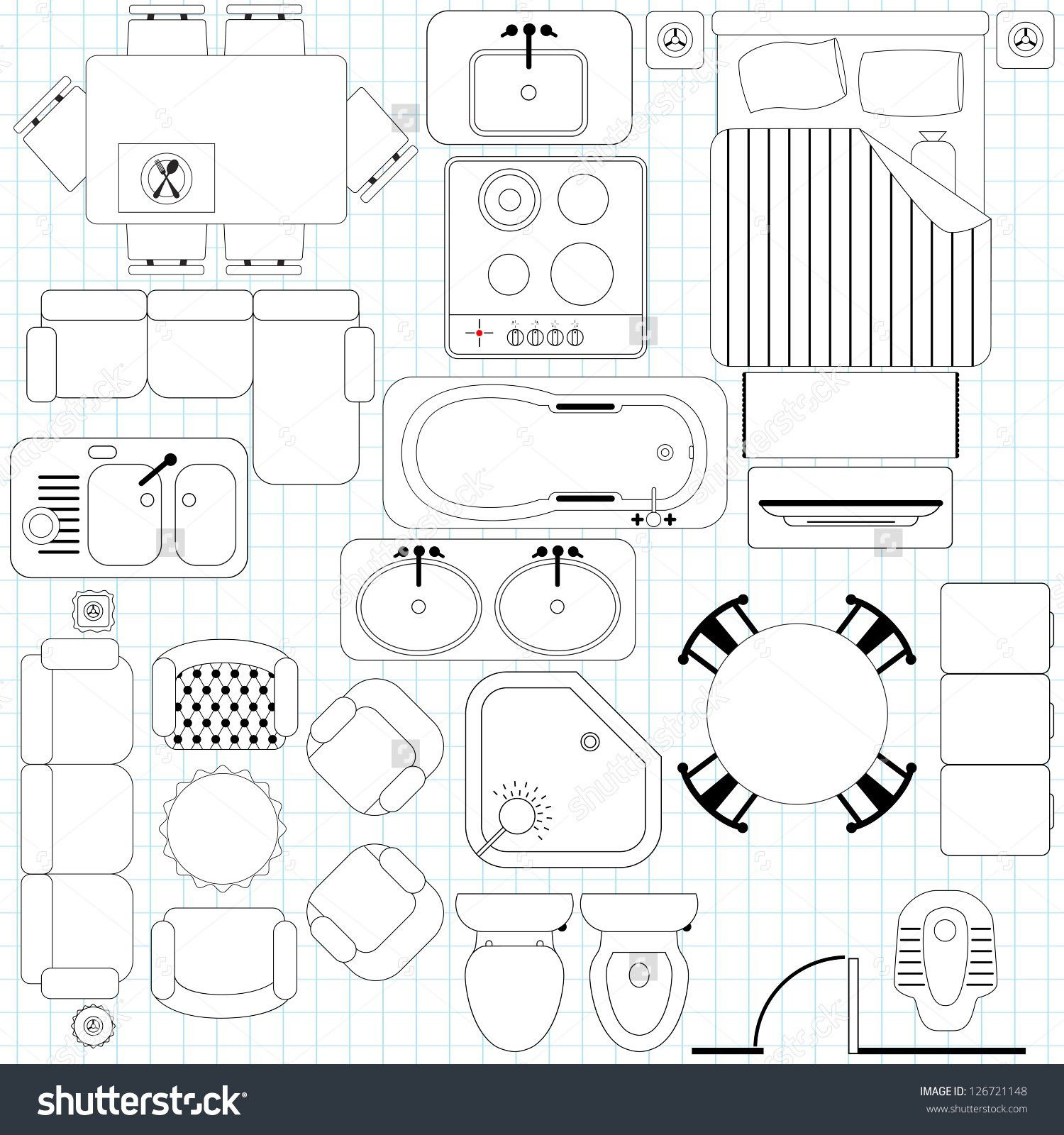 Image Result For Furniture Eps Vector Plan View