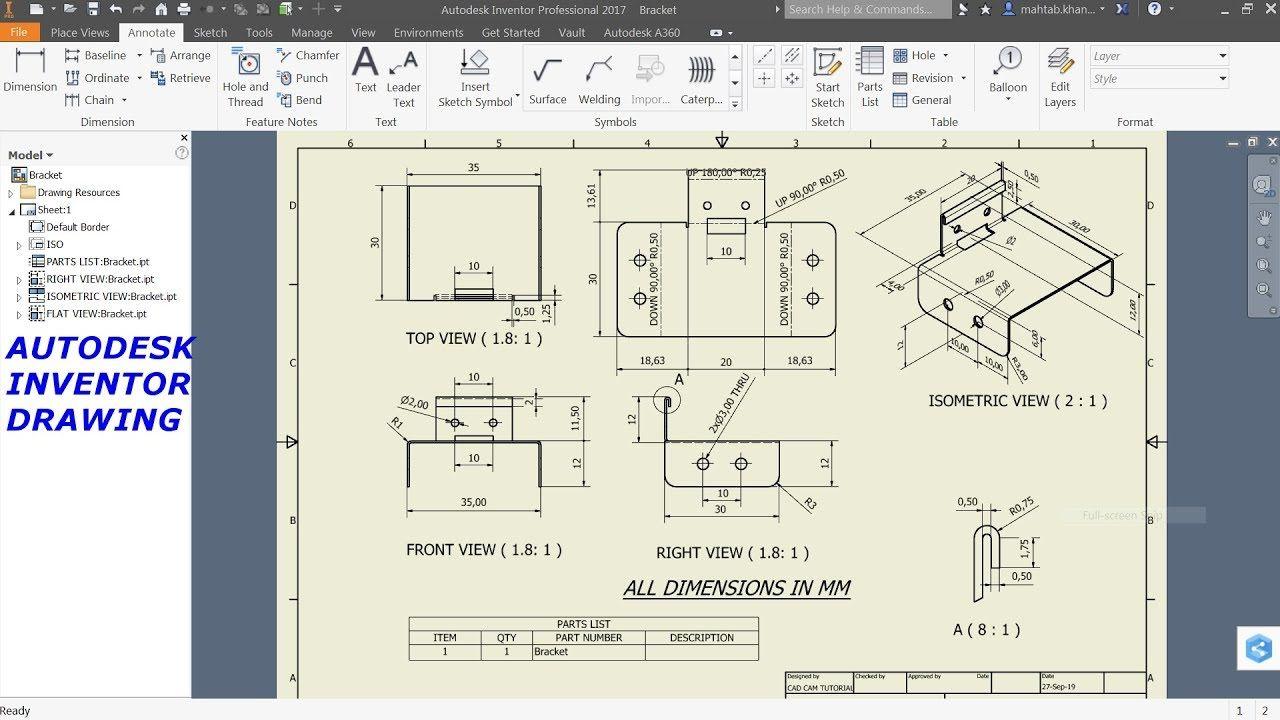 Autodesk Inventor Sheet Metal Drawing Tutorial Basics Youtube Sheet Metal Drawing Drawing Tutorial Autodesk Inventor