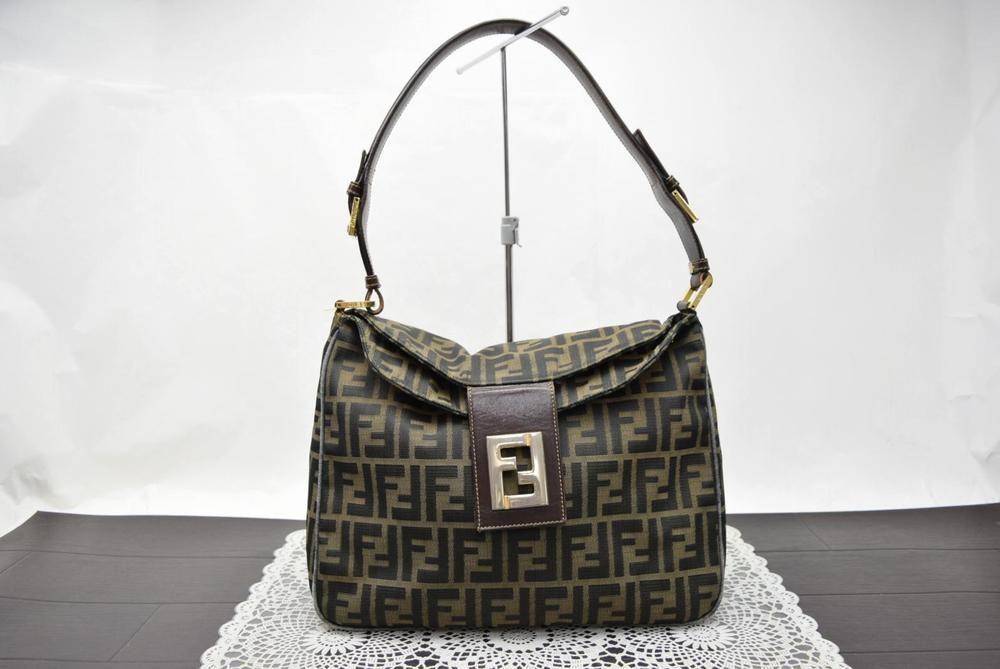 a87149f7dd4c Authentic Fendi Shoulder Bag Zucca Browns Canvas 357097  fashion  clothing   shoes  accessories
