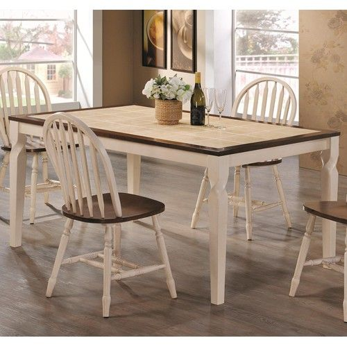 Coaster Bradley Two Toned Dining Table W Tile Inlay Fine Furniture
