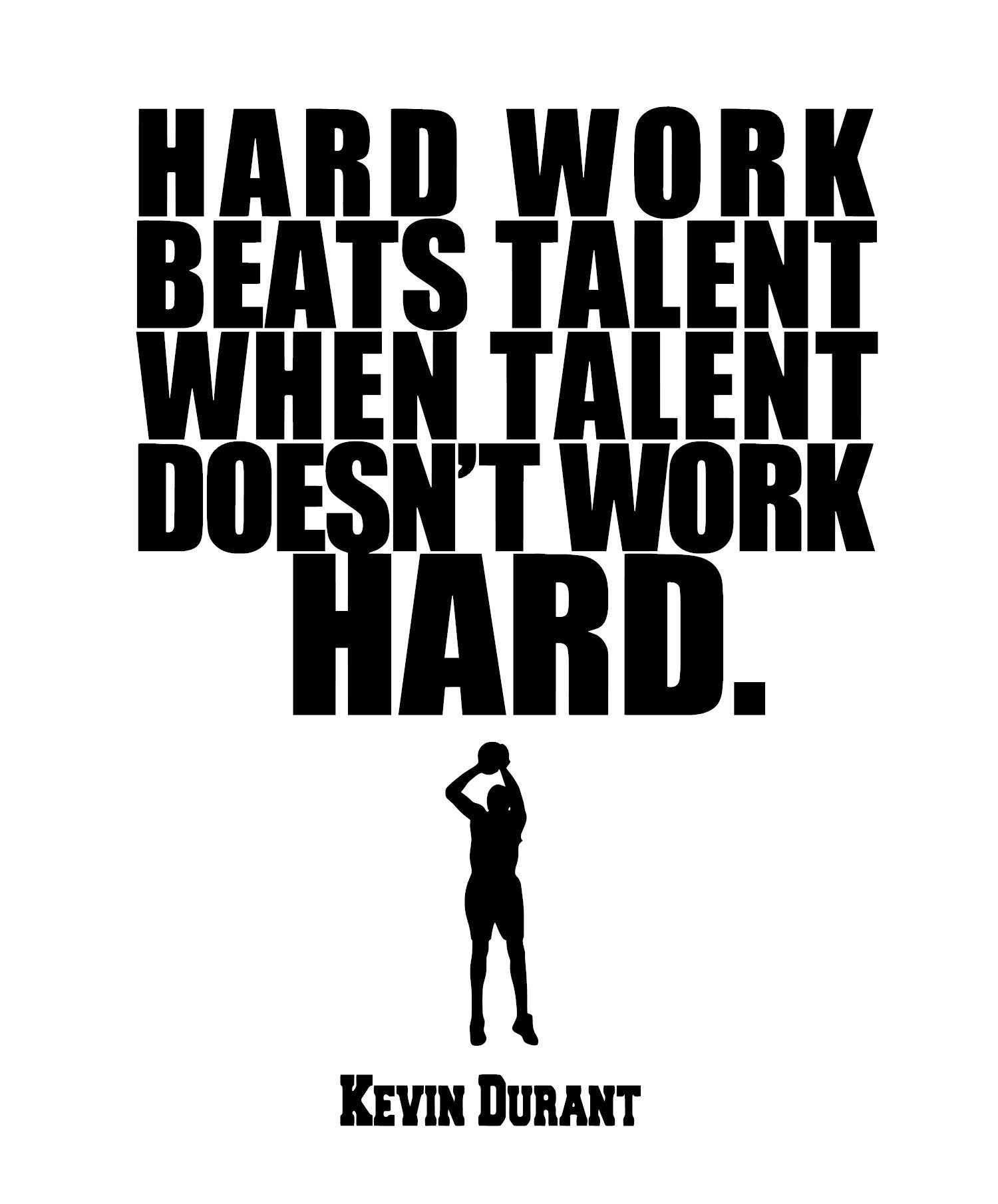 """Hard Work Beats Talent Quotes: Kevin Durant Inspirational Quote """"HARD WORK BEATS TALENT"""