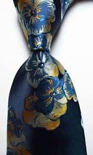 NEW Classic Floral Blue Gold White Jacquard Woven 100 Silk MEN'S TIE Necktie | eBay