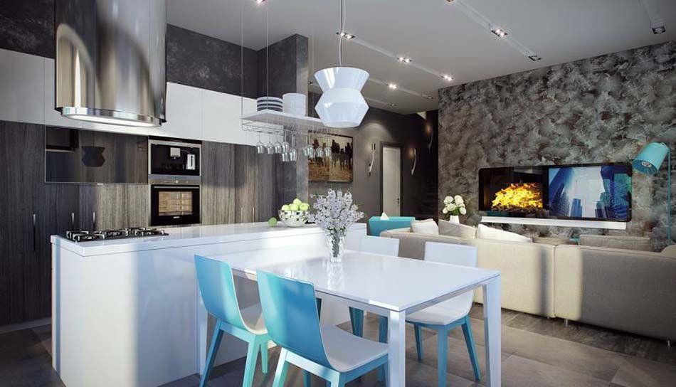 Salle à Manger Design Dans Un Petit Appartement De Ville Moderne - Table salle a manger design italien pour idees de deco de cuisine