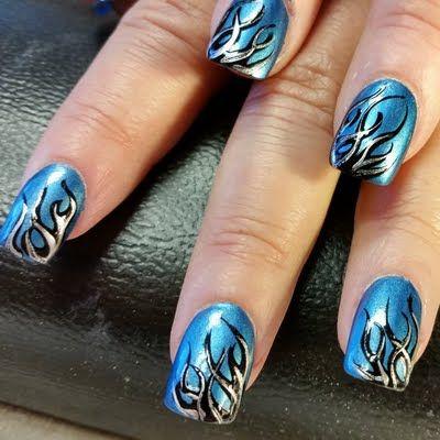 Aqua blue chrome nail polish was used as base for this ...