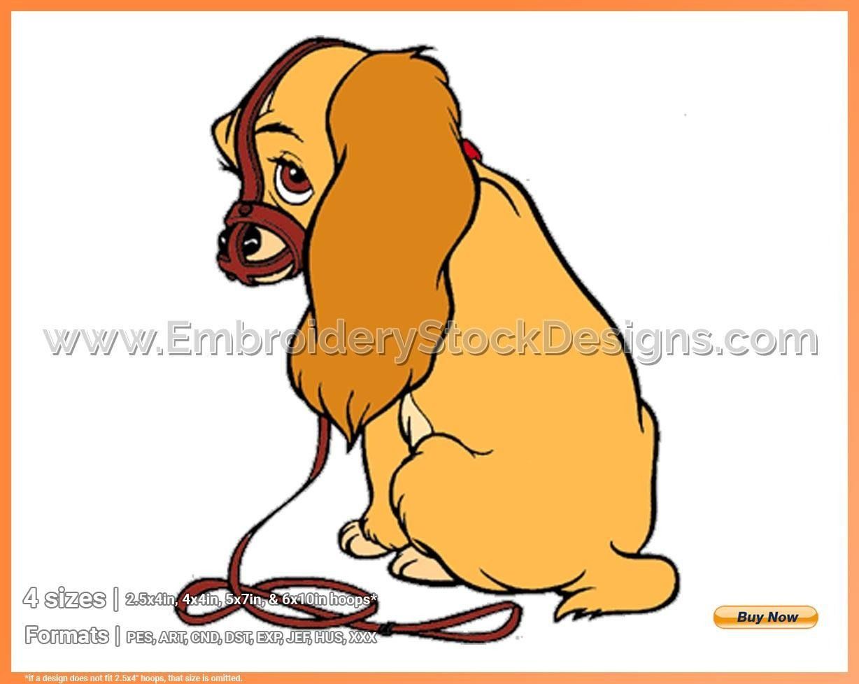 Lady Wearing Muzzle Lady And The Tramp Disney Movie Characters In 4 Sizes Embroidery Movel007375 Embroidery Stock Designs Disney Movie Characters Movie Characters Disney Movies