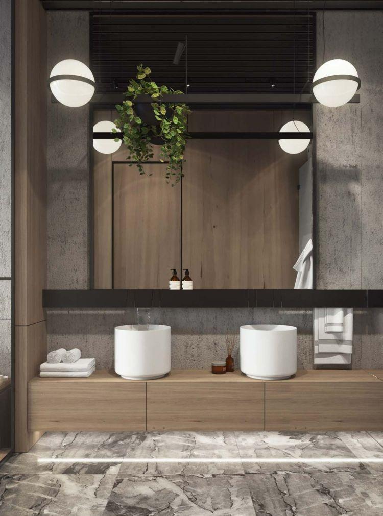 Modernes Bad Lampe Industrial Design Schwarze Asseccoires Doppelt  Waschbecken Marmorboden #interior #design
