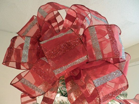 Large Christmas Tree Topper Bow Sheer Red Ribbon With