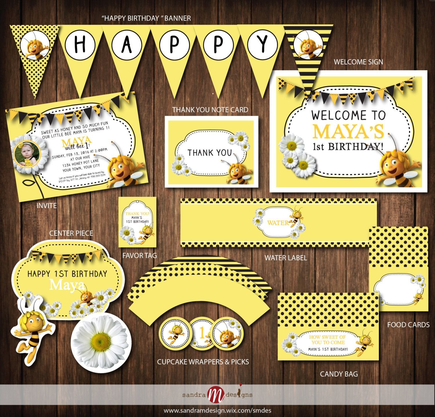 Personalized Maya the Bee Birthday Banner Party Backdrop