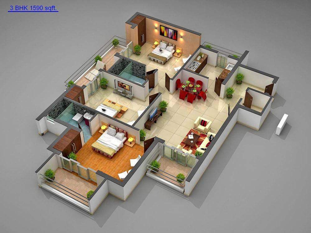 Designs For 2bhk And 3bhk 3d House Plans Simple House Design Model House Plan