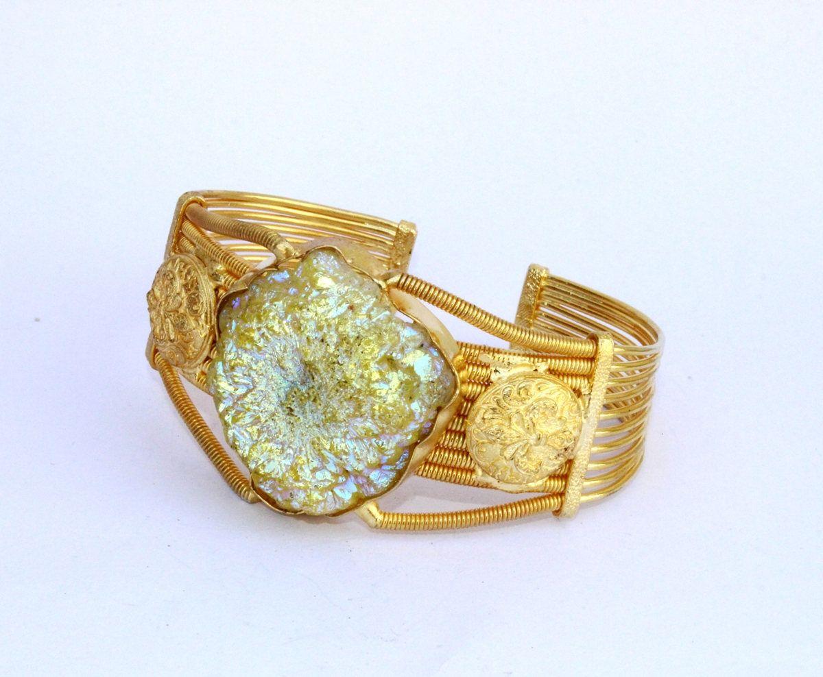 Yellow titanium solar quartz cuff bracelet designer gold bracelet