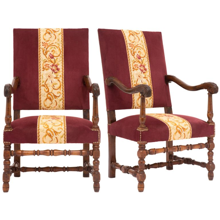 1stdibs Pair of French Louis XIII Carved Walnut Armchairs